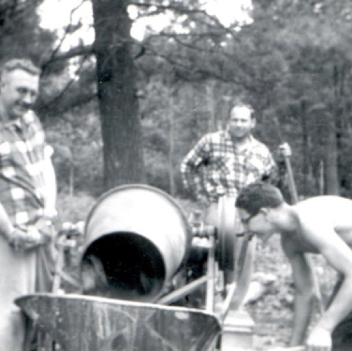 1960 John Booth, John Bradley and Bev Holmes mixing cement